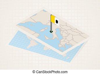 térkép, city., kiválasztott, isometric, lobogó, vatican ...