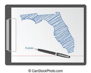 térkép, csipeszes írótábla, florida