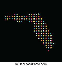 térkép, derékszögben, image., szín, florida, pont