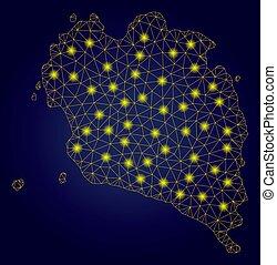 térkép, drót, fény, keret, kiütés, sárga, polygonal,...