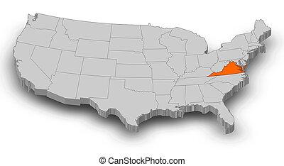 térkép, egyesült államok, -, virginia, 3d-illustration