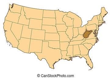 térkép, egyesült államok, virginia, kijelölt, nyugat