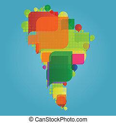 térkép, elkészített, világ, amerika, szárazföld, déli