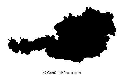 térkép, elszigetelt, ausztria, tervezés, háttér, siilhouette, fehér, körvonal