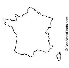 térkép, elvont, fekete, franciaország