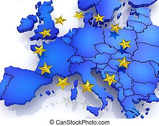 térkép, europe., háromkiterjedésű