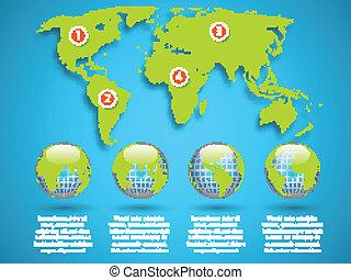 térkép, földgolyó, infographic, sablon, világ