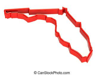 térkép, fal, florida, jel, határ, piros