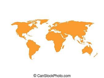 térkép, fehér, elszigetelt, háttér, világ