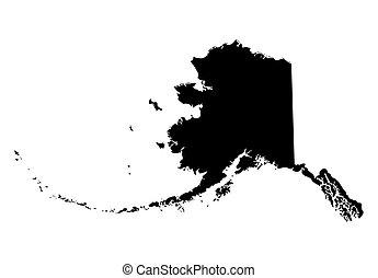 térkép, fekete, alaszka