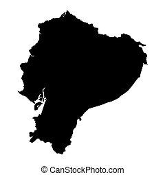térkép, fekete, ecuador