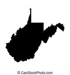 térkép, fekete, virginia, nyugat