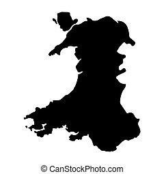 térkép, fekete, wales