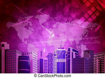 térkép, felhőkarcoló, háttér, világ