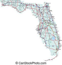 térkép, florida, út, államközi