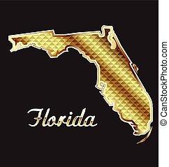 térkép, florida, arany