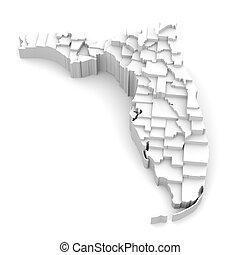 térkép, florida, megyék, jel