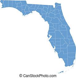 térkép, florida, megyék