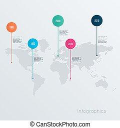 térkép, fogalom, ábra, vektor, tervezés, infographics, világ, geometriai, template.