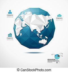 térkép, fogalom, földgolyó, ábra, vektor, tervezés, infographics, világ, geometriai, template.