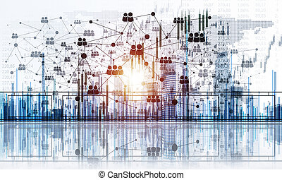 térkép, fogalom, networking, kommunikáció, globális, világ, ov