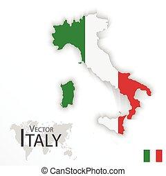 térkép, fogalom, olaszország, ), (, lobogó, köztársaság, szállítás, idegenforgalom, olasz
