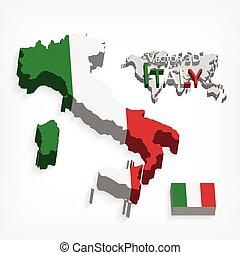 térkép, fogalom, olaszország, ), (, lobogó, köztársaság, szállítás, olasz, idegenforgalom, 3
