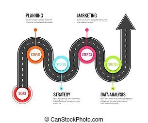 térkép, fogalom, success., igazgató, infographic., út, kanyargás, vektor, út, gyalogút, elgáncsol, utazás, utazás