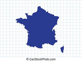 térkép, francia france, lobogó, köztársaság