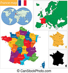 térkép, franciaország