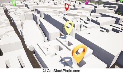 térkép, geolocate, gombostű, terület, folt, navigáció, talál