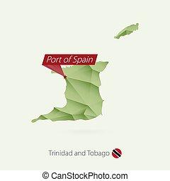 térkép, gradiens, tobago, poly, zöld, alacsony, főváros, rév, spanyolország, trinidad