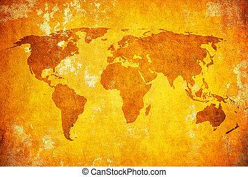 térkép, grunge, világ