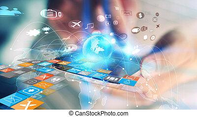 térkép, hálózat, networking, concept., média, ügy, összekapcsolt, globalization, társadalmi, világ