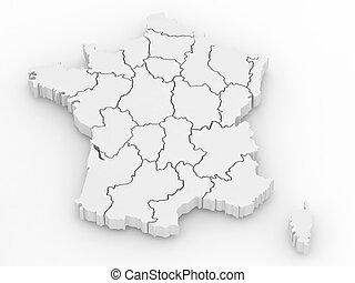 térkép, háromkiterjedésű, elszigetelt, franciaország, háttér...