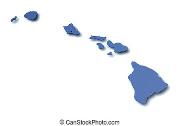 térkép, -, hawaii, usa