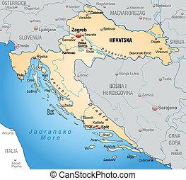 térkép, horvátország