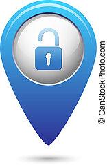 térkép, ikon, nyílik, mutató, zár
