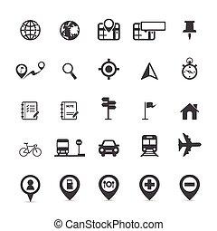 térkép, ikonok, és, elhelyezés, ikonok