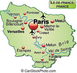 térkép, ile-de-france