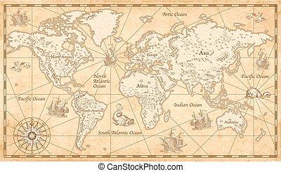 térkép, illusztrált, világ, szüret