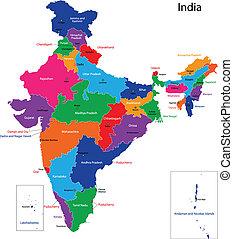 térkép, india
