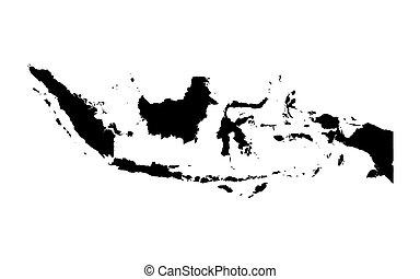 térkép, indonézia, fekete