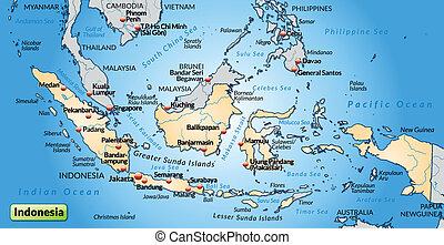 térkép, indonézia