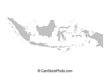 térkép, indonézia, szürke