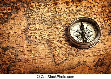 térkép, iránytű, ősi, öreg, szüret