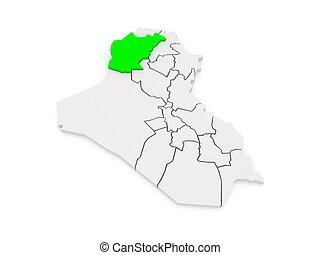 térkép, iraq., ninawa.