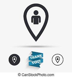 térkép, jelkép., aláír, felhasználó, könyvjelző, icon., mutató
