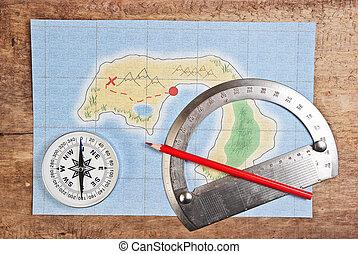 térkép, közül, a, korall, sziget