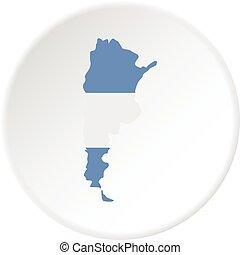 térkép, közül, argentína, alatt, argentinian lobogó, befest, ikon
